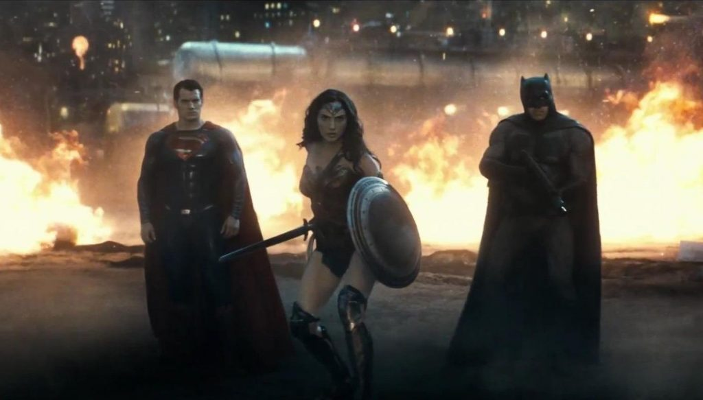 Superman, Wonder Woman, and Batman in the climatic battle against Doomsday