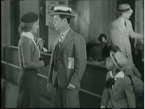 Alice Brandon (Ginger Rogers) meets Joe Holt (Joe E. Brown) as Sam (Farina) looks on