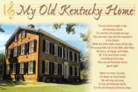 Song lyrics to My Old Kentucky Home, Good Night by Stephen Foster (1853)