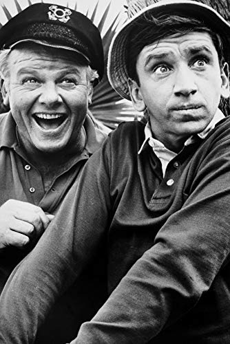 The Skipper and Gilligan in a black and white publicity photo