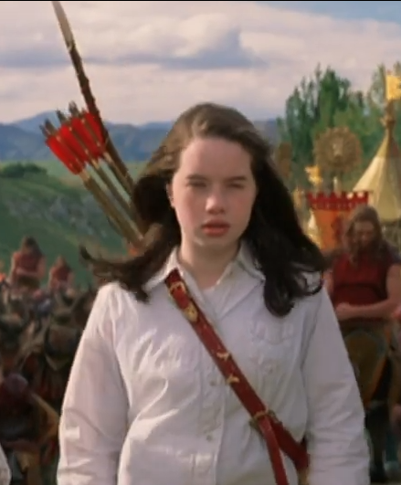 Susan Pevensie with her Christmas gift in Narnia
