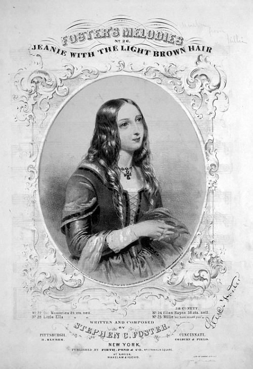 Song lyrics to Jeanie with the Light Brown Hair, by Stephen Foster (1854)