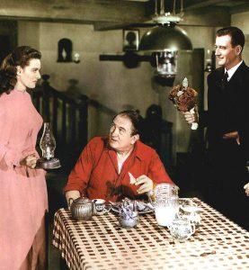 Maureen O'Hara, Victor McLaglan, John Wayne in The Quiet Man
