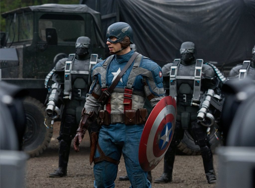 Captain America (Chris Evans) facing off against the goons of Hydra in Captain America: The First Avenger