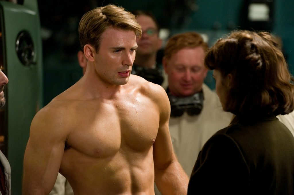 Steve's new muscles are appreciated by Peggy Carter (Hayley Atwell)