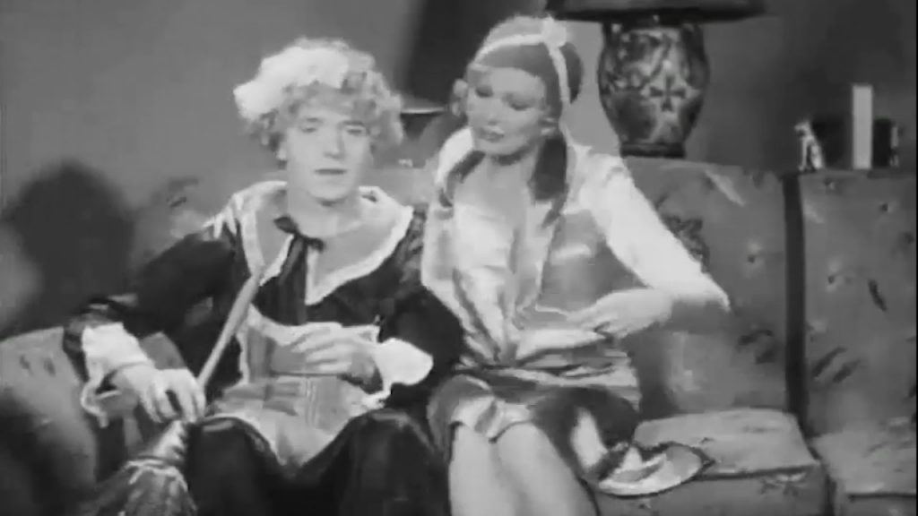 Stan Laurel (in drag, as Agnes the Maid) with Thelma Todd