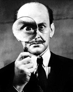 Tony Randall as the Belgian detective, Hercule Poirot.
