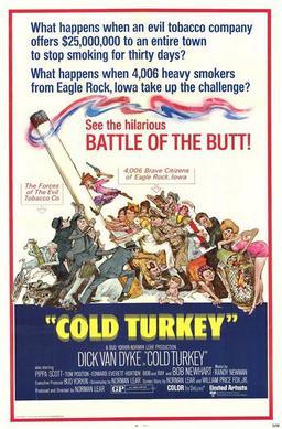Cold Turkey (1971) starring Dick Van Dyke, Pippa Scott, Bob Newhart, Tom Poston
