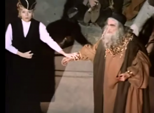 Diana Rigg and Vincent Price performing a scene from Shakespeare in Theater of Blood