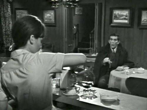 Dark Shadows season 2 episode 221 - Waitress Maggie Evans meets Barnabas at the Collinsport Inn. She later feels as if someone is watching her.