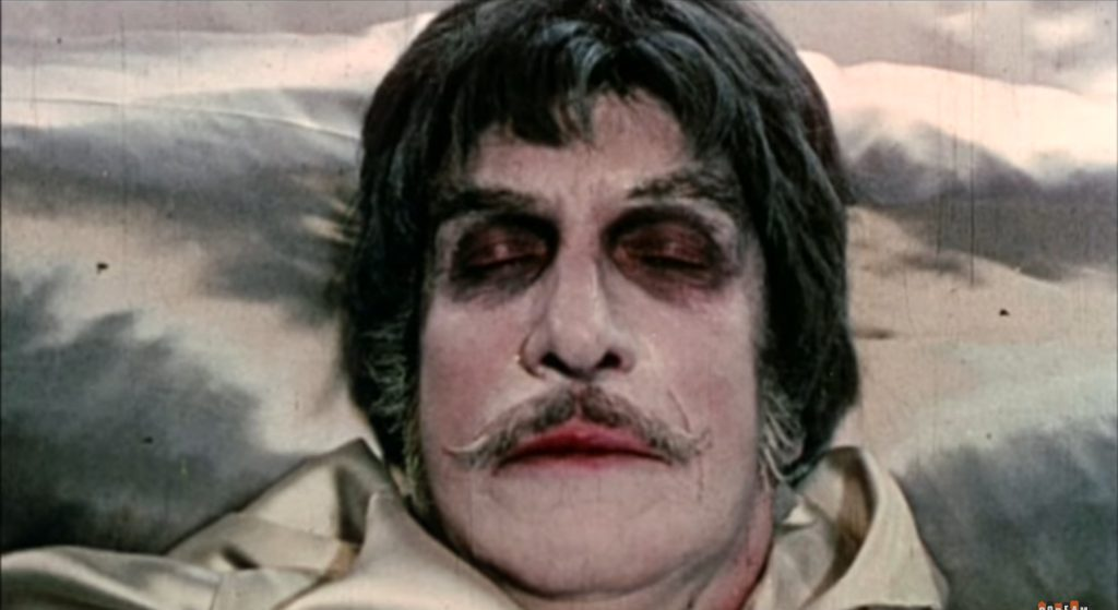 Vincent Price as Dr. Phibes, about to revive from his suspended animation