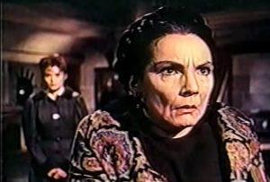 Freda Jackson as Greta, the Meinster family servant, insanely loyal to the vampiric Baron