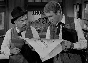 Jimmy Stewart as the bookish lawyer, with the newspaper editor (Edmond O'Brien) who's not afraid to take a stand against Liberty Valance -- and pays the price for it.