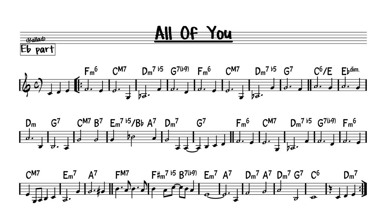 Song lyrics to All of You (1954) written by Cole Porter. It was written for the Broadway musical Silk Stockings and featured in the film version as well.