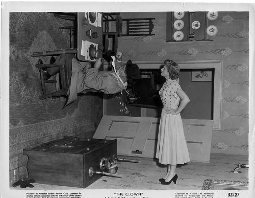 """Red Skelton as Dodo Delwyn in """"The Clown"""", doing his famous topsy turvy room"""