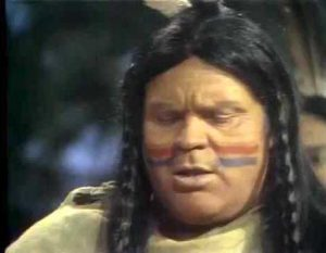 """Dan Blocker as the Indian Chief selling the island of Manhattan in """"Swing Out Sweet Land"""""""