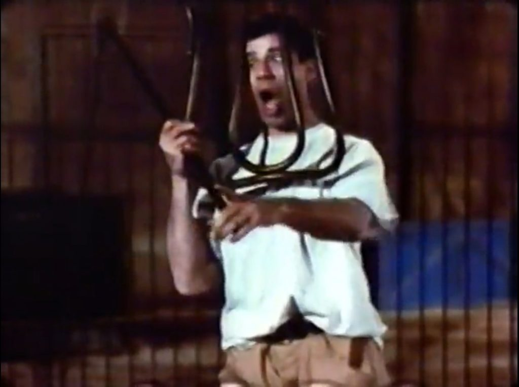Jerry Lewis using the chair the wrong way as apprentice lion tamer