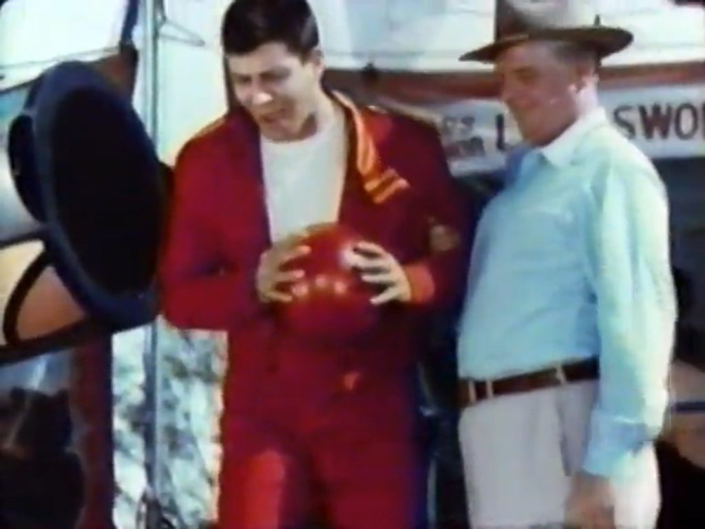 Jerry Lewis trying out being a human cannonball with Wallace Ford