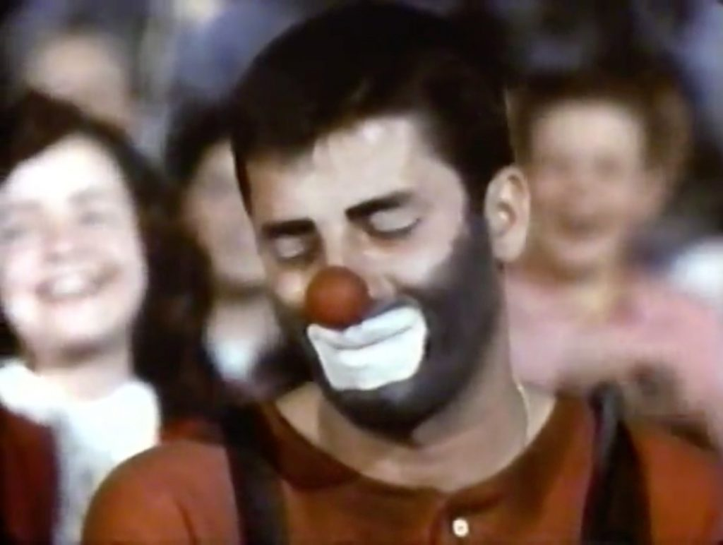Jericho the clown is crying, over not getting the crippled girl to laugh
