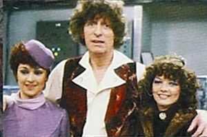 Janet Fielding, Tom Baker, and  Sarah Sutton in the fourth Doctor's final appearance in Logopolis