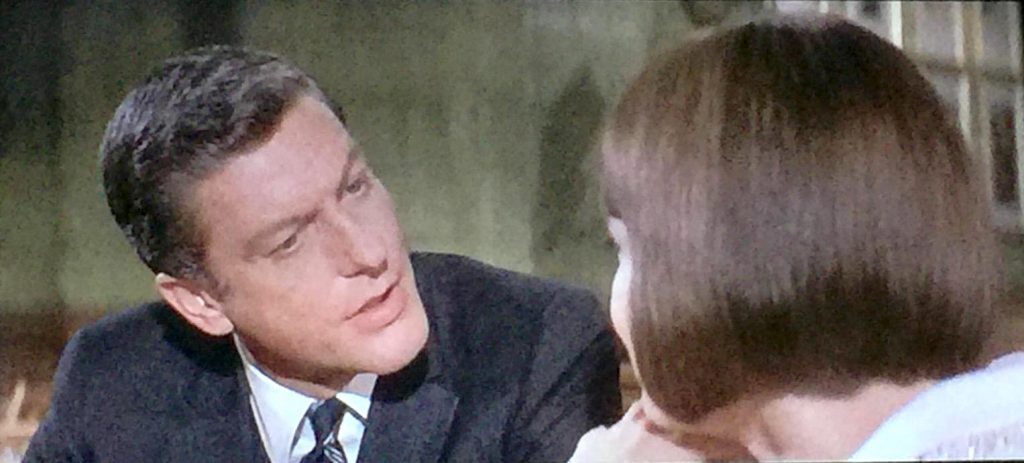 Dick Van Dyke as the head butler Fitzilly, having a discussion with Barbara Feldon -- whom he doesn't want to discover what's actually going on