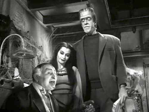 Grandpa, Lily, and Herman Munster