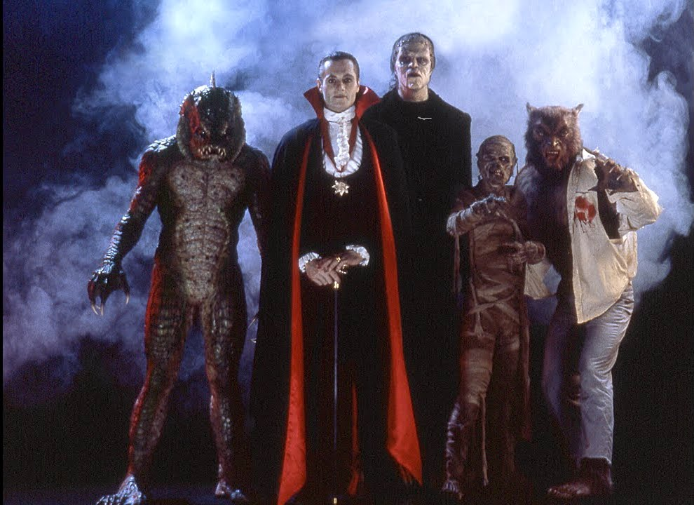 """The monsters in """"The Monster Squad"""" - the Creature, Dracula, Frankenstein's creation, the mummy, and the wolf man"""