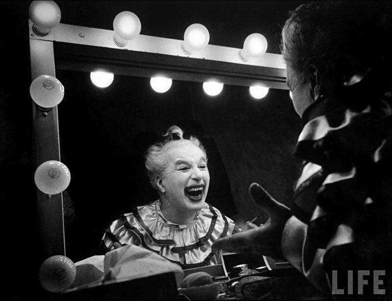 "Charlie Chaplin as Calvero, in whiteface clown makeup, in ""Limelight"""
