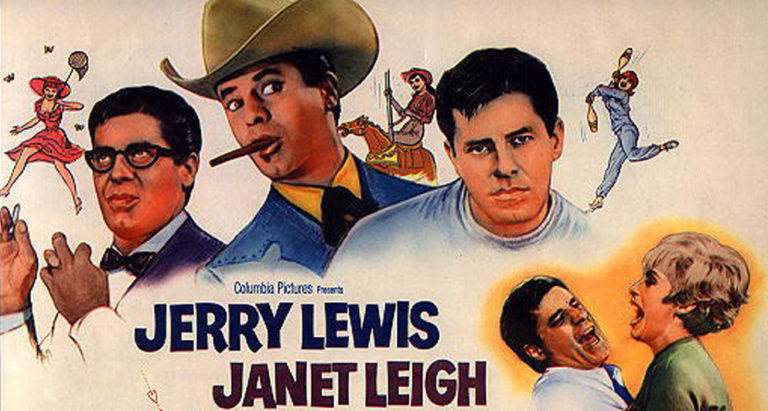 """Movie poster of """"Three on a Couch"""" with Jerry Lewis playing multiple roles, while romancing Janet Leigh"""