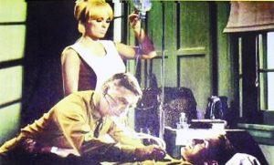 """Nurse (Mamie Van Doren), doctor, and comatose patient in """"The Navy vs. The Night Monsters"""""""