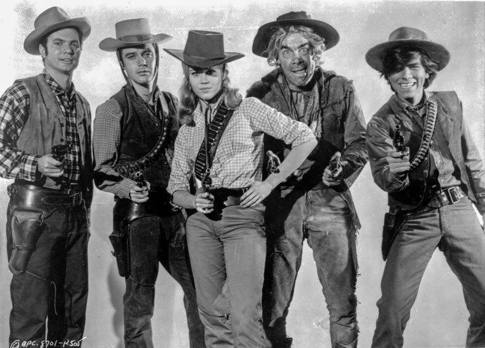 Cat Ballou's gang with their guns drawn