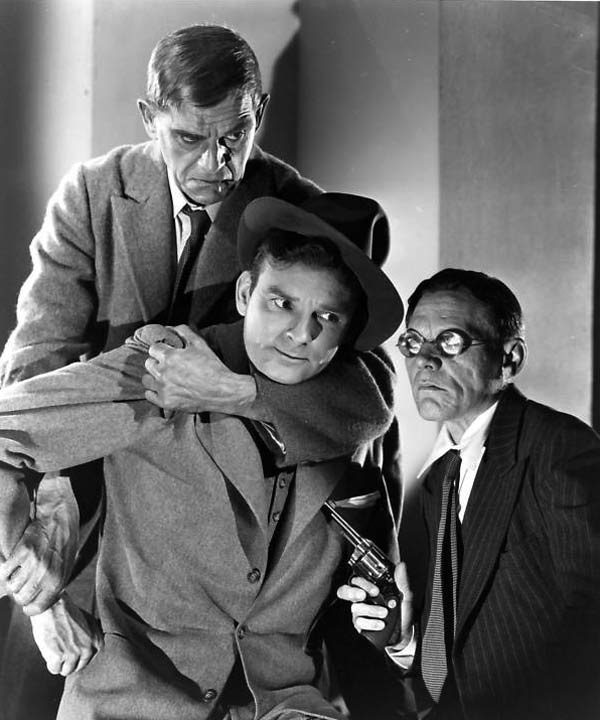 Karloff, Ralph Byrd, and Skelton Knaggs in Dick Tracy Meets Gruesome