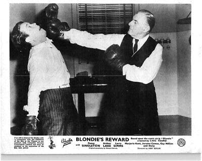 """Comedy boxing scene between Dagwood and Mr. Dickson in """"Blondie's Reward"""""""