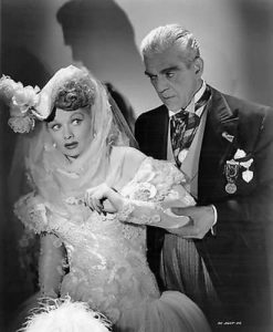 """Lucille Ball and the delightfully mad Boris Karloff in """"Lured"""""""