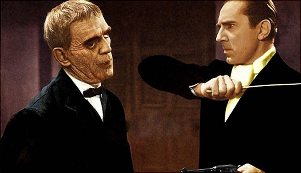 "Boris Karloff as the disfigured felon, Bela Lugosi as the mad surgeon in ""The Raven"""